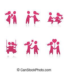 ensemble, amour, icônes, couple, -, illustration, vecteur