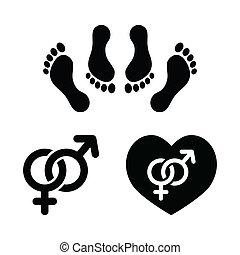ensemble, amour, icônes, couple, sexe, confection