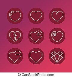 ensemble, amour, icons., vecteur, 9, cœurs, signs.