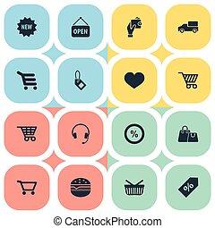 ensemble, amour, simple, portefeuille, icons., nourriture,...