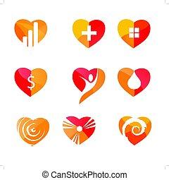 ensemble, amour, vecteur, gabarit, cœurs, logo, icons:, signs.