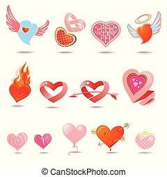 ensemble, amour, vecteur, signes, cœurs, icons: