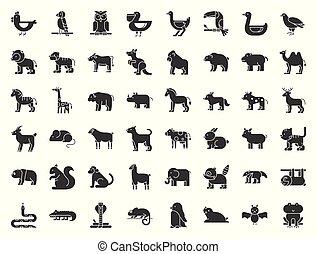 ensemble, animal, paresse, solide, grand, perroquet, chameau, arctique, cachet, kangourou, toucan, tigre, pélican, grenouille, icône, tel, safari, oiseau, icône, forêt