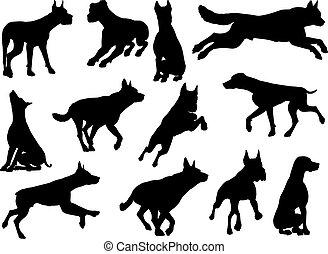 ensemble animal, silhouettes, chien