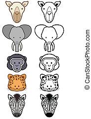 ensemble, animals., vecteur, sauvage, zoo, ou