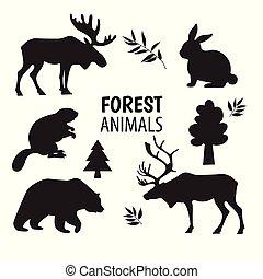 ensemble, animaux, base, isolated., silhouettes, éléments, conception, forêt, graphiques, sauvage, icônes, blanc