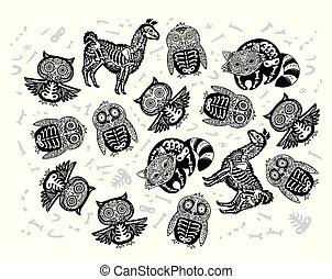 ensemble, animaux, crâne, contour., halloween, manchots, hibou, sucre, lama, raton laveur