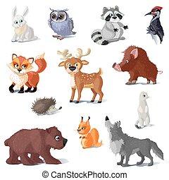 ensemble, animaux, dessin animé, forêt