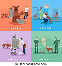 ensemble, animaux, errant, icônes