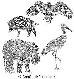 ensemble, animaux, ornements, ethnique