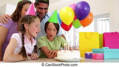 ensemble, anniversaire, célébrer, famille