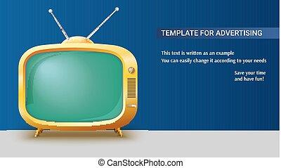 ensemble, annonce, toile de fond, tv, vendange, écran, affiche, long, réaliste, vert, jaune, gabarit, vide, antennes, illustration., horizontal, 3d, retro