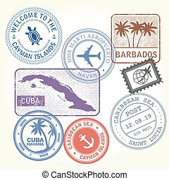 ensemble, antilles, voyage, timbres, thème, mer