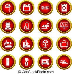 ensemble, appareils électroménagers, cercle, rouges, icône