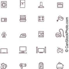 ensemble, appareils domestiques, icône
