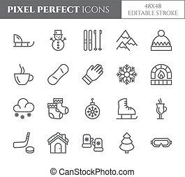 ensemble, apparenté, arbre, neige, skis, parfait, vacances hiver, thème, chaud, autre, vector., pixel, boissons, éléments, vêtements, icons., fetes, traîneau, ligne, pictograms., mince, patins, montagnes