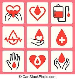 ensemble, apparenté, donation, vecteur, sanguine, icône