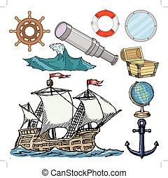 ensemble, apparenté, objets, nautique