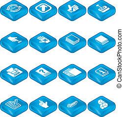ensemble, applications, icône, série