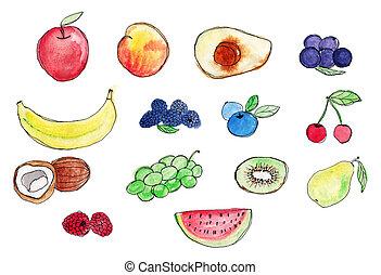 ensemble, aquarelle, arrière-plan., fruits., peinture, blanc