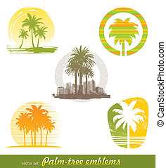 ensemble, &, arbre, étiquettes, -, emblèmes, vecteur, paume