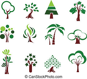 ensemble, arbre, icônes