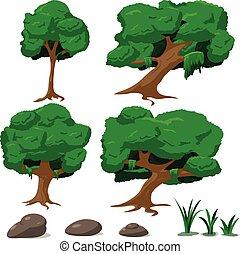 ensemble, arbre, illustration, vecteur, forêt, dessin animé