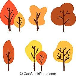 ensemble, arbre, main, automne, vecteur, brosse, dessiné