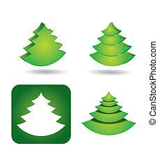 ensemble, arbre, -, pin, vecteur, icône