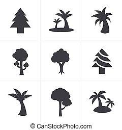 ensemble, arbre, vecteur, conception, icônes