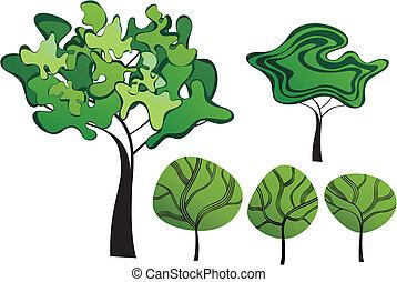 ensemble, arbres, créatif