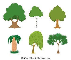 ensemble, arbres verts