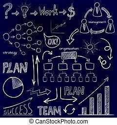 ensemble, argent, flèches, plan, bleu, gestion, travail, griffonnage, graphique, dessiné, blanc, affaires signent, icons., main, plan, system., lumière, vecteur, équipe, organisation, ampoule