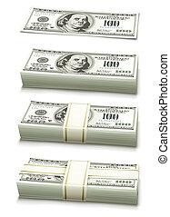ensemble, argent, notes, dollar, banque, tassé