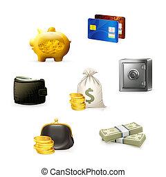 ensemble, argent, vecteur, icône