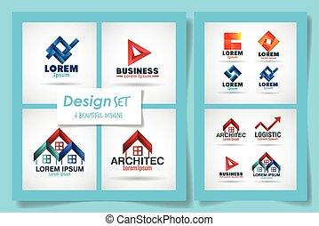 ensemble, arrière-plan bleu, marques, conception, vecteur, sur