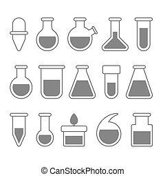 ensemble, arrière-plan., icônes, chimique, équipement, vecteur, laboratoire, blanc