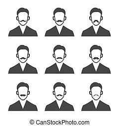 ensemble, arrière-plan., vecteur, hipster, blanc, moustache
