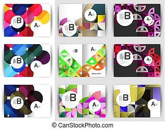 ensemble, arrière-plans, conception, a4, brochure, géométrique, gabarits