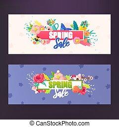 ensemble, arrière-plans, fleurs, text., printemps