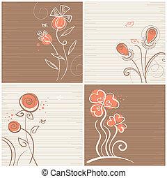 ensemble, arrière-plans, floral
