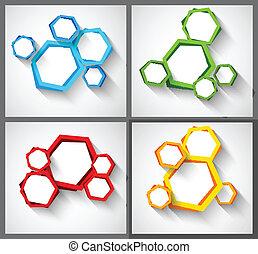 ensemble, arrière-plans, hexagones