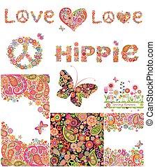 ensemble, arrière-plans, hippie