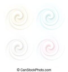 ensemble, arrière-plans, isolé, texture, multicolore, vecteur, tourbillon, crème