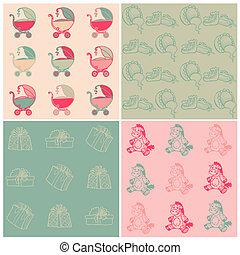 ensemble, -, arrière-plans, seamless, main, vecteur, bébé, dessiné