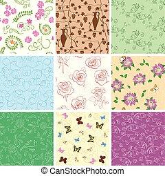 ensemble, -, arrière-plans, seamless, motifs, papillons, vecteur, fleurs