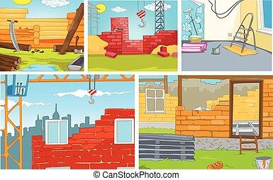 ensemble, arrière-plans, -, sites., construction, dessin animé