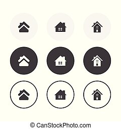 ensemble, arrondi, simple, icons., 3, conception, fond, maison