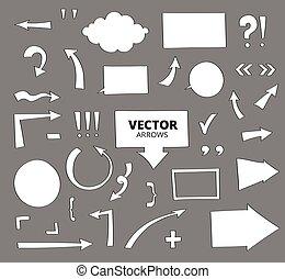 ensemble, arrows., isolé, main, stylo, éléments, conception, blanc, dessiné