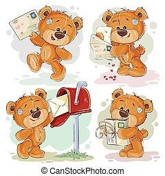 ensemble, art, agrafe, teddy, sends, ours, illustrations, lettres, obtient